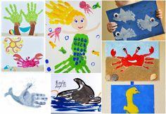 Ocean Themed Handprint und Footprint Crafts - I Heart Arts n Crafts Ocean Themed . Ocean Theme Crafts, Sea Crafts, Baby Crafts, Toddler Crafts, Preschool Crafts, Seahorse Crafts, Daycare Crafts, Hand Crafts For Kids, Art For Kids