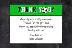 Soccer Thank You Note by LittleMissCustom on Etsy, $10.00 - ANY size, print as many as you need!