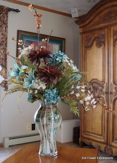 Blue and Brown Extra Large Arrangement, Silk Flowers