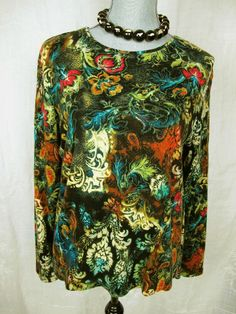 Chicos 2 Top Black Red Ivory Teal Floral Boho Paisley Cotton Knit Shirt #chicos#fashion#boho#style#arty#style#top#trend#deal