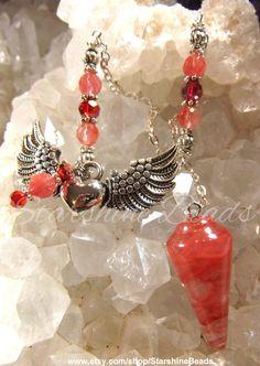 Wings Of Love Pendulum  Red Cherry Quartz by StarshineBeads