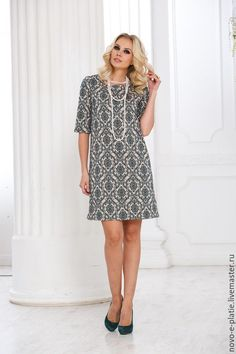Платье 20013 - серый, узор, жакард, трикотаж, жакард, узор