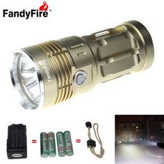 FandyFire 3-LED 3000lm Cool White 3-Mode Super Bright Flashlight - Golden (4x18650) . . Tags: #Lights #Lighting #Flashlights #LED #Flashlights #18650 #Flashlights