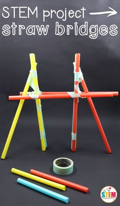 Bridges What a fun STEM project for kids! Build straw bridges to learn about engineering.What a fun STEM project for kids! Build straw bridges to learn about engineering. Math Stem, Stem Science, Science For Kids, Science Centers, Earth Science, Life Science, Second Grade Science, Science Week, Primary Science
