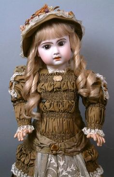 "24"" Gorgeous Size 11 Brown-Eyed Jumeau Bebe Antique Doll with Pull Strings in Superb Silk Couturier Costume!"