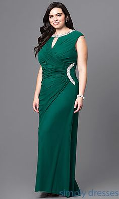 Shop jeweled-collar plus-size prom dresses at Simply Dresses. Long formal dresses under $200 with ruching, scoop necklines and front keyholes.