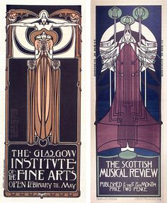 Margaret and Frances Macdonald with J. Herbert McNair, Poster for the Glasgow Institute of the Fine Arts, 1895 Charles Rennie Mackintosh, Po. Charles Rennie Mackintosh Designs, Charles Mackintosh, Alphonse Mucha, Gustav Klimt, Art Nouveau Design, Design Art, Belle Epoque, 7 Arts, Jugendstil Design