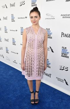 Pin for Later: See Every Gorgeous Arrival From the Spirit Awards Bel Powley Wearing a Mary Katrantzou dress and Nicholas Kirkwood heels.
