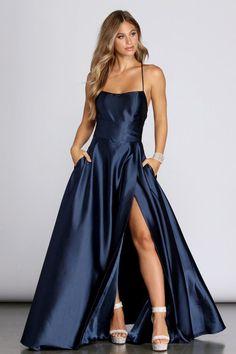 Stunning Prom Dresses, Pretty Prom Dresses, Prom Dresses Blue, Satin Dresses, Ball Dresses, Elegant Dresses, Homecoming Dresses, Cute Dresses, Beautiful Dresses