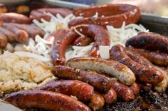 Oktoberfest Buffet ~ Hot Soft Pretzels with Variety of German Mustards, Creamy Dilled Cuke Salad, Applesauce, Potato Pancakes, Spaetzle, German Potato Salad, Grilled Bratwurst in Beer, Saurkraut, Red Cabbage, Streudel, Black Forest Cake/Cupcakes and Beer!!