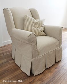 Custom slipcover in Boyd Natural, a rustic oatmeal cotton linen. Medium weight, good for slipcovers that get moderate use. Whimsical Painted Furniture, Funky Furniture, Repurposed Furniture, Rustic Furniture, Furniture Makeover, Upholstery Trim, Upholstery Cushions, Furniture Upholstery, Upholstery Nails