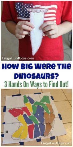 Big Were the Dinosaurs? Three Hands-on Ways to Find Out How Big Were the Dinosaurs? Three Hands-on Ways to Find Out. Fun dinosaur activities for kids!How Big Were the Dinosaurs? Three Hands-on Ways to Find Out. Fun dinosaur activities for kids! Dinosaur Theme Preschool, Preschool Themes, Preschool Science, Stem Activities, Preschool Crafts, Activities For Kids, Dinosaur Classroom, Vocabulary Activities, Dinosaur Crafts For Preschoolers