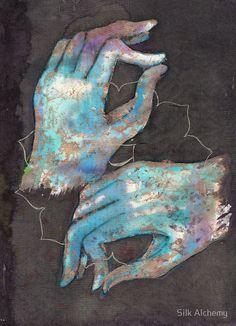 Tilly Campbell Allen Painting - Anahata - Heart Chakra Mudra by Silk Alchemy Arte Chakra, Chakra Art, Chakra Healing, Reiki, Kundalini Yoga, Yoga Meditation, Pranayama, Alchemy, Ayurveda