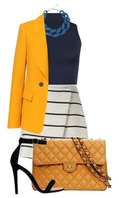 """Yellow Navy"" by mayumi17 ❤ liked on Polyvore featuring WearAll, MSGM, DIANA…"