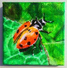 Ladybug acrylic painting