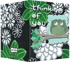 Thinking of you card with a black and kelly green background an owl. Blank inside. Available wholesale or retail:  http://www.violetcottage.com/thinking-of-you/30-thinking-of-you-blank-inside-green-white-flowers-owl.html