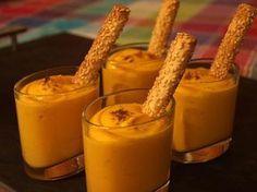 verrine carotte (carottes + chevre frais + creme + cumin) - Testé : mettre moins de cumin et faire de plus petites portions !!!!