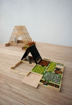 Model of temporary housing structures for Japan