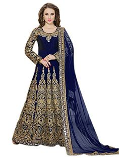 53f3e695807 Shoppingover Indian Party Wear Anarkali Suit in Silk Fabric-Blue Color