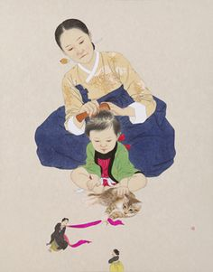 """""""Reasons of Their Own by Shin Sun-mi / South Korea Korean Painting, Chinese Painting, Chinese Art, Illustrations, Children's Book Illustration, Korean Traditional, Traditional Art, Art Magique, Shin"""
