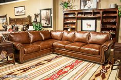 Bradington Young Brown Leather Sectional with Natural Nailhead Trim Western Furniture, Large Furniture, Living Room Furniture, New Living Room, Home And Living, Living Room Decor, Brown Couch, Western Decor, Discount Furniture