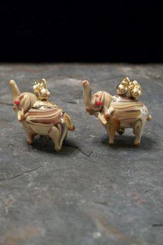 Earrings Elephant Lampworked Bead Jewelry by by BrendasBeading, $9.95