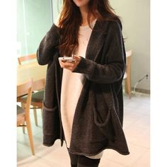 Stylish Long Sleeves Solid Color Pockets Hooded Cardigan For Women
