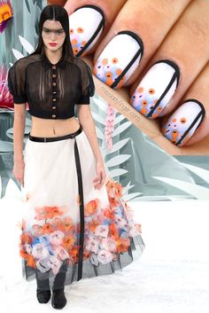 Kendall Jenner in Chanel Couture Spring '15 oriental nail art design by Miss Ladyfinger