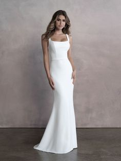 Style: 9810   Allure Bridals Fitted Wedding Gown, Crepe Wedding Dress, Bridal Wedding Dresses, Bridal Style, Bridesmaid Dresses, Backless Wedding, Designer Gowns, Designer Wedding Dresses, Bridal Boutique