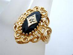 Vintage Black Onyx Diamond Ring 10K Gold Gemstone Filigree Size 6 5 Signed | eBay