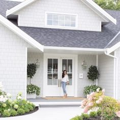Our Exterior Home Reveal - Fraiche Living White Exterior Paint, White Exterior Houses, Exterior Paint Colors For House, Grey Houses, Modern Farmhouse Exterior, Paint Colors For Home, White House Exteriors, Exterior House Paint Colors, White Siding House