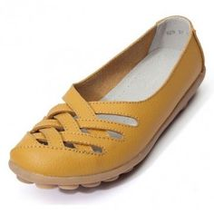 Hot-sale Hollow Out Leather Breathable Casual Slip On Moccasin Ballet Flat Shoes - NewChic