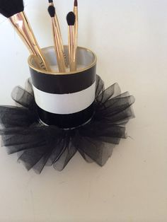 Inspired by the popular Starbucks Alice and Olivia mug, this little cutie is perfect to hold your makeup brushes or pencils