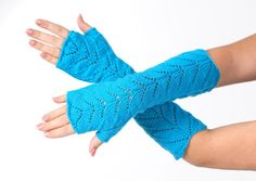 Turquoise Long lace Fingerless Lace Fingerless mittens by MioLauma, $35.00