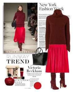 """""""NYFW Runway Trend: Victoria Beckham Cozy style"""" by ellie366 ❤ liked on Polyvore featuring Brochu Walker, Jolie By Edward Spiers, Victoria Beckham, Tom Ford, Lancôme, Christian Dior, NYFW, pleatedskirt, turtleneck and runwaytrends"""