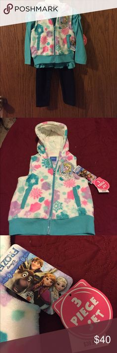 DISNEY NWT FROZEN 3 PIECE SET Set includes: fuzzy hooded vest with faux fur, long sleeve shirt with gathered shoulders, & jeggings. Disney Matching Sets
