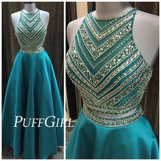 Teal Satin Sleeveless Two Piece Prom Dress With Beaded Crop Top