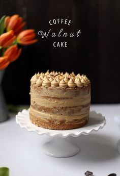 Coffee and Walnut Cake – College Housewife Kaffee und Walnusskuchen – College-Hausfrau Coffee And Walnut Cake, Coffe Cake, Coffee Coffee, Bolo Cake, Basic Cake, Character Cakes, Cake Tins, Macaron, Savoury Cake