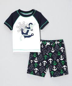 2345d7dc25 Blue Anchor Rashguard   Swim Trunks - Toddler by Baby Buns