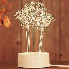 Lampe 3D Roses Impression 3d, Lampe 3d, Led, Candle Holders, Candles, Roses, Night Lamps, 3d Printing, Candlesticks