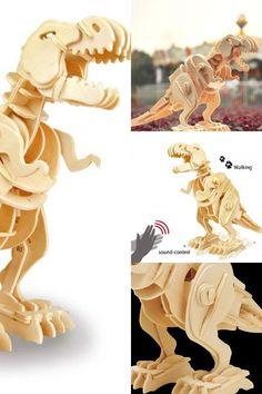Sound control form: Clap your hands once: dinosaur will advance.#Dinosaur #child #present #puzzle #robotimedinosaur #funny Wooden Model Kits, Dinosaur Toys, Wooden Puzzles, T Rex, Presents, Child, Hands, Funny, Diy