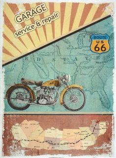 Rice Paper for Decoupage Decopatch Scrapbook Craft Sheet Vintage Garage Route 66