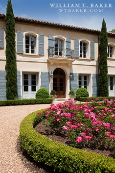 Country French, French Provincial, blue shutters, tile roof, barrel tile, iron balcony, limestone entry, limestone door | William T. Baker #architect #home
