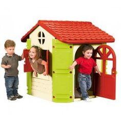 Une charmante maison avec des couleurs joyeuses. Très conviviale, elle est dotée d'une porte d'entrée de standing avec clé, d'une fenêtre avec volets à battants et d'une fenêtre avec une tablette permettant de jouer à l'intérieur comme à l'extérieur. Facile à monter et à démonter sans outils. Les couleurs lumineuses sont résistantes au soleil et aux changements de température.Dimensions du produit monté : L 131 cm x P 110 cm x H 121 cm