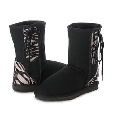 Black Zebra Safari Short Lace Up UGG Boots #zebra #laces #short #ugg #boots #uggboots #aussie #australian #australia #sheepskin