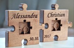 Personalized Wood Wedding Ring Bearer Pillow Puzzle Rustic