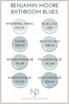 Benjamin Moore Powder Room and Bathroom Paint Colors. Interior Paint Colors, Paint Colors For Home, House Colors, Blue Grey Paint Color, Magnolia Paint Colors, Light Blue Paint Colors, Coastal Paint Colors, Neutral Paint, Gray Paint