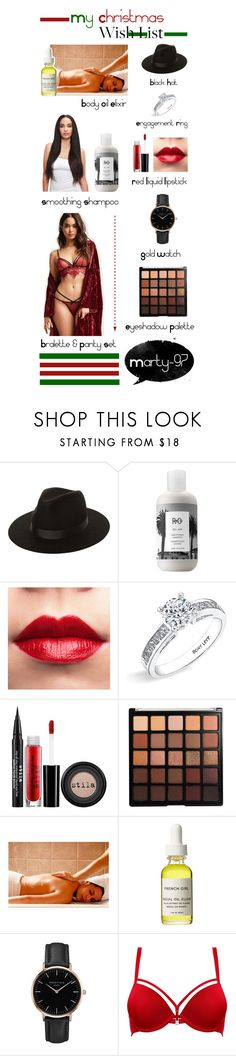 """""""My Christmas Wish List!"""" by marty-97 ❤ liked on Polyvore featuring Lack of Color, R+Co, Bony Levy, Stila, Morphe, French Girl, Topshop, Moschino and Forever 21"""