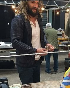 Jason Mamoa Whips Out A Folding Chair Sits Pleased