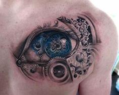 SteamPunk inspired biomechanical eye tattoo